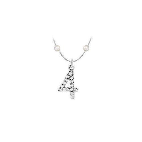 Cubic Zirconia and Cultured Pearl Numeric 4 Charm Pendant : .925 Sterling Silver - 0.07 CT TGW-JewelryKorner-com