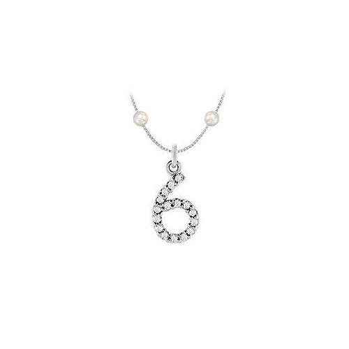 Cubic Zirconia and Cultured Pearl Numeric 6 Charm Pendant : .925 Sterling Silver - 0.07 CT TGW-JewelryKorner-com