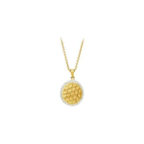 "Cubic Zirconia and Sterling Silver 14K Yellow Gold Plated Necklace - 16 Inch with 2"" Extender-JewelryKorner-com"