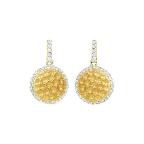 Cubic Zirconia and Sterling Silver 14K Yellow Gold Plated Push Back Earrings-JewelryKorner-com