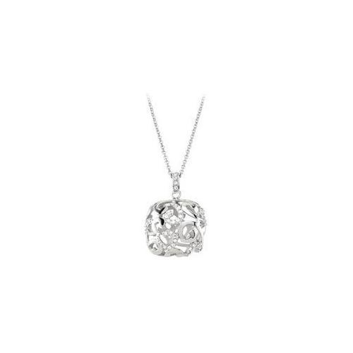 "Cubic Zirconia and Sterling Silver Rhodium Plated Necklace - 16 Inch with 2"" Extender-JewelryKorner-com"