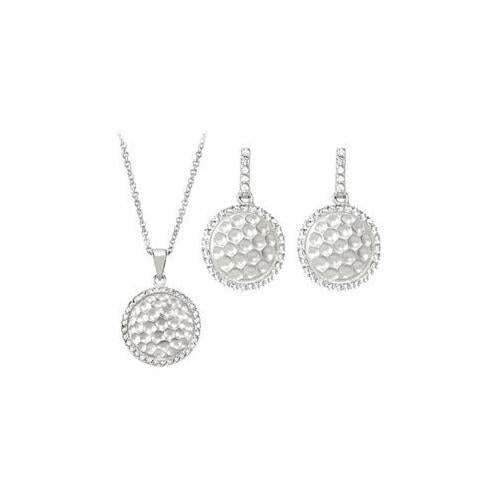 Cubic Zirconia and Sterling Silver Rhodium Plated Necklace with Pair Push Back Earrings Set-JewelryKorner-com