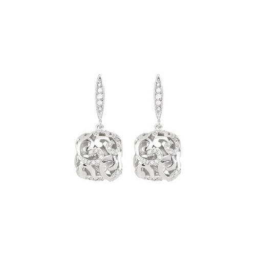 Cubic Zirconia and Sterling Silver Rhodium Plated Push Back Earrings-JewelryKorner-com