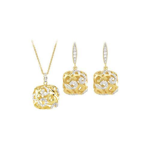 Cubic Zirconia and Sterling Silver Yellow Gold Plated Necklace with Pair Push Back Earrings Set-JewelryKorner-com