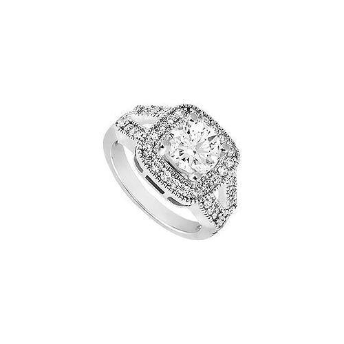 Cubic Zirconia Engagement Ring 10K White Gold 1.50 CT TGW-JewelryKorner-com