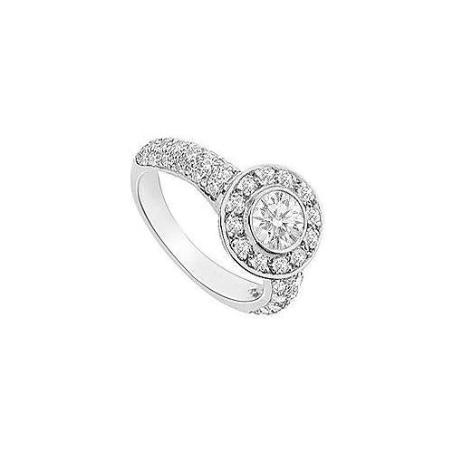 Cubic Zirconia Halo Engagement Ring 14K White Gold 2.15 CT TGW-JewelryKorner-com