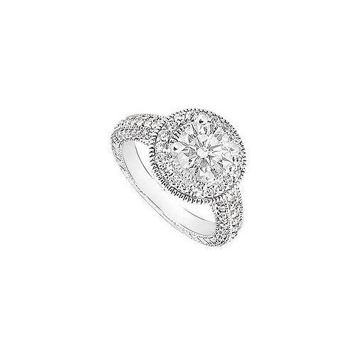 Cubic Zirconia Halo Engagement Ring 14K White Gold 3.50 CT TGW-JewelryKorner-com