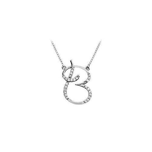 Cubic Zirconia Letter B Script Initial Pendant : .925 Sterling Silver - 0.15 CT TGW-JewelryKorner-com