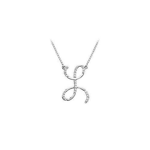 Cubic Zirconia Letter L Script Initial Pendant : .925 Sterling Silver - 0.15 CT TGW-JewelryKorner-com