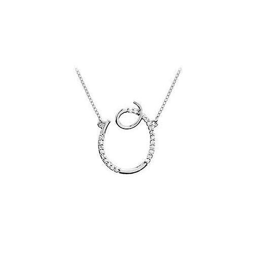 Cubic Zirconia Letter O Script Initial Pendant : .925 Sterling Silver - 0.10 CT TGW-JewelryKorner-com