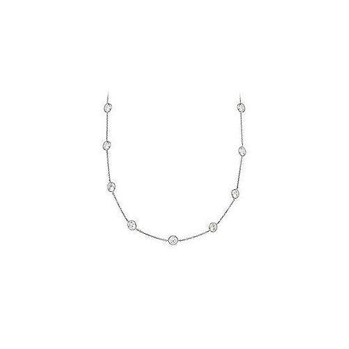 Cubic Zirconia Necklace : .925 Sterling Silver - 5.00 CT TGW-JewelryKorner-com