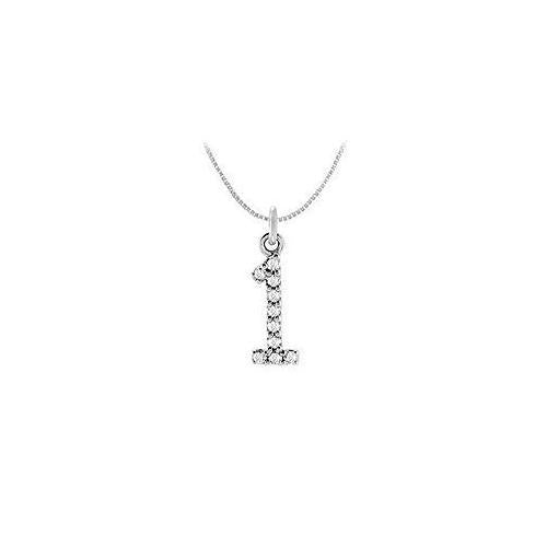 Cubic Zirconia Numeric 1 Charm Pendant : .925 Sterling Silver - 0.05 TGW-JewelryKorner-com