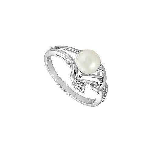 Cultured Pearl and Diamond Ring : 14K White Gold - 0.02 CT Diamonds-JewelryKorner-com