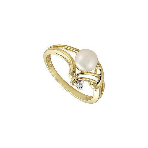 Cultured Pearl and Diamond Ring : 14K Yellow Gold - 0.02 CT Diamonds-JewelryKorner-com