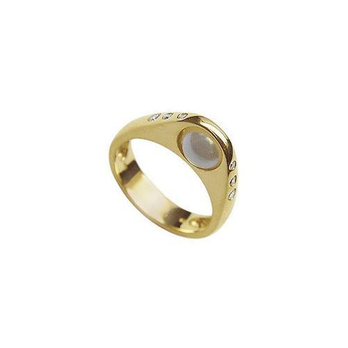 Cultured Pearl and Diamond Ring : 14K Yellow Gold - 0.12 CT Diamonds-JewelryKorner-com