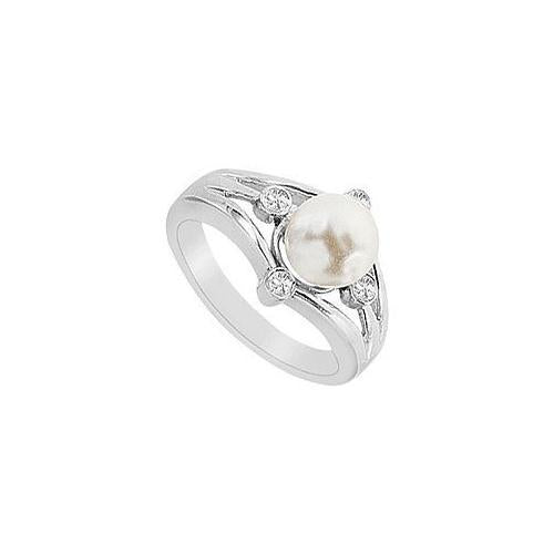 Cultured White Akoya Pearl and Diamond Ring : 14K White Gold - 0.15 CT Diamonds-JewelryKorner-com
