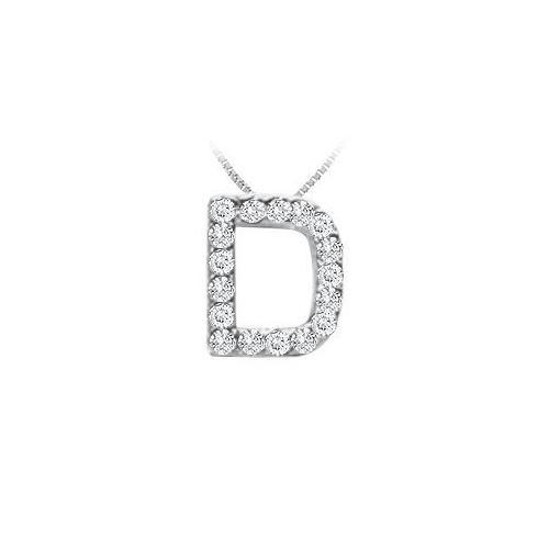 CZ Initial Sterling Silver D Pendant-JewelryKorner-com