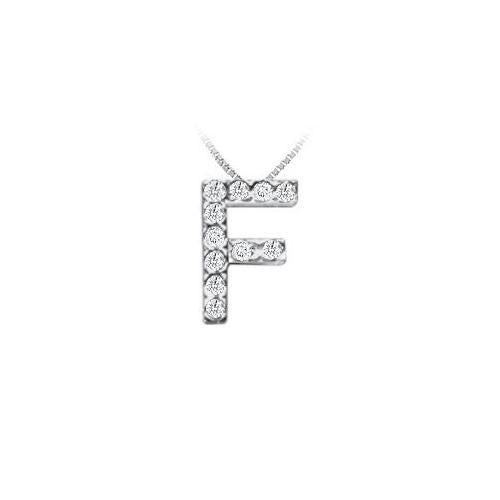CZ Initial Sterling Silver F Pendant-JewelryKorner-com