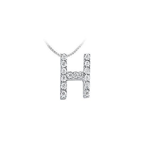 CZ Initial Sterling Silver H Pendant-JewelryKorner-com