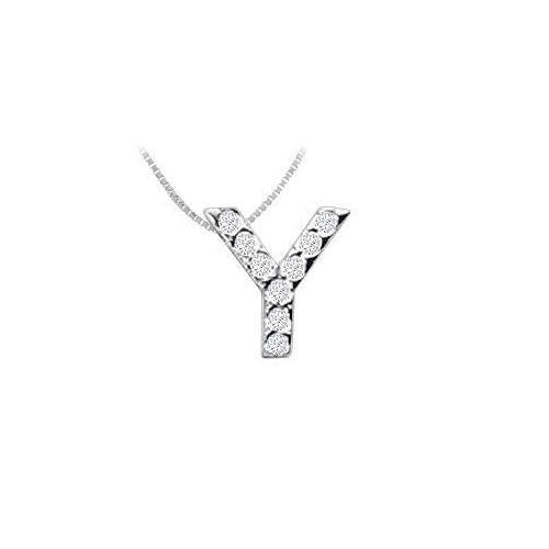 CZ Initial Sterling Silver Y Pendant-JewelryKorner-com