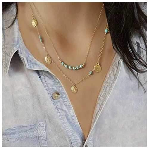 Delicate Delights The Turquoise Necklace With Golden Charms-JewelryKorner-com