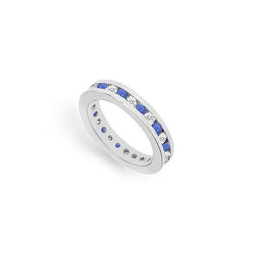 Diamond and Blue Sapphire Eternity Band : 14K White Gold – 1.00 CT TGW-JewelryKorner-com