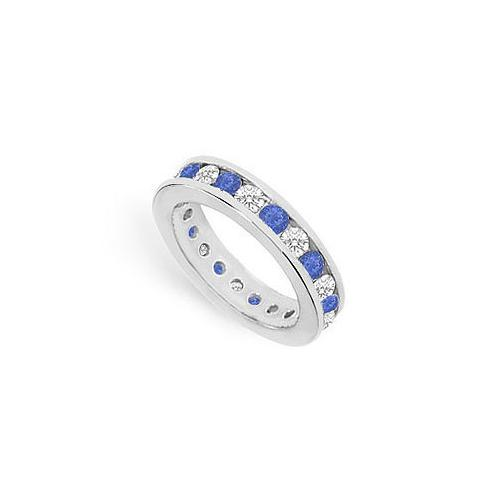 Diamond and Blue Sapphire Eternity Band : 14K White Gold – 2.00 CT TGW-JewelryKorner-com