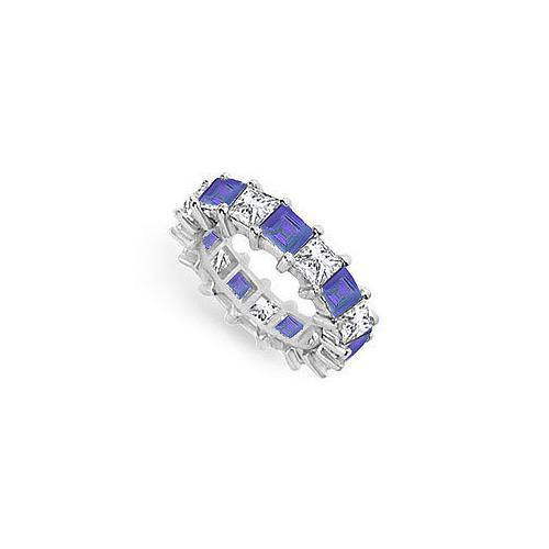 Diamond and Blue Sapphire Eternity Band : 14K White Gold – 5.00 CT TGW-JewelryKorner-com
