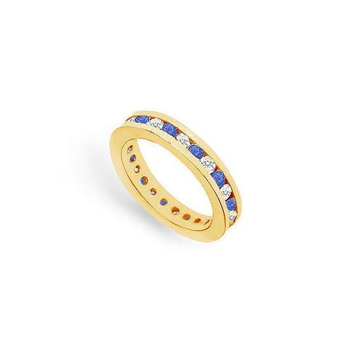Diamond and Blue Sapphire Eternity Band : 14K Yellow Gold – 1.00 CT TGW-JewelryKorner-com