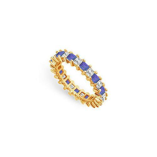 Diamond and Blue Sapphire Eternity Band : 14K Yellow Gold – 3.00 CT TGW-JewelryKorner-com