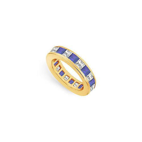Diamond and Blue Sapphire Eternity Band : 14K Yellow Gold – 4.00 CT TGW-JewelryKorner-com