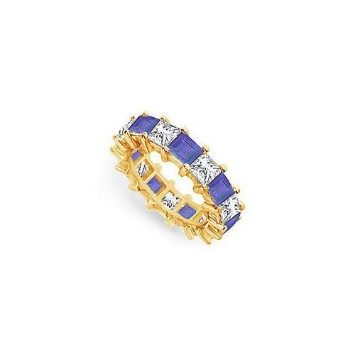 Diamond and Blue Sapphire Eternity Band : 14K Yellow Gold – 5.00 CT TGW-JewelryKorner-com