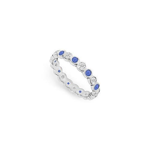 Diamond and Blue Sapphire Eternity Band : 18K White Gold – 1.00 CT TGW-JewelryKorner-com