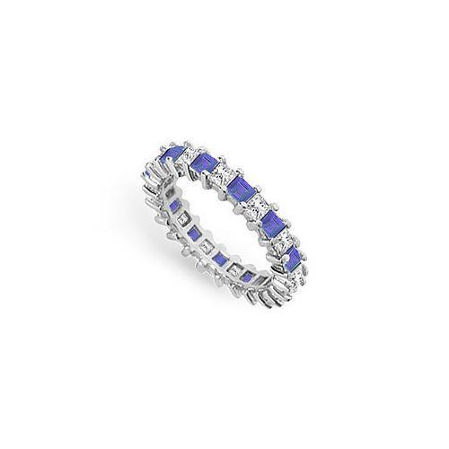 Diamond and Blue Sapphire Eternity Band : 18K White Gold – 3.00 CT TGW-JewelryKorner-com