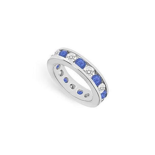 Diamond and Blue Sapphire Eternity Band : 18K White Gold – 4.00 CT TGW-JewelryKorner-com