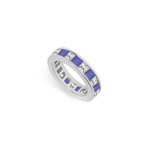 Diamond and Blue Sapphire Eternity Band : 18K White Gold – 5.00 CT TGW-JewelryKorner-com
