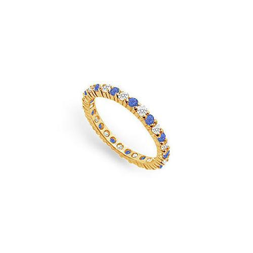 Diamond and Blue Sapphire Eternity Band : 18K Yellow Gold – 1.00 CT TGW-JewelryKorner-com