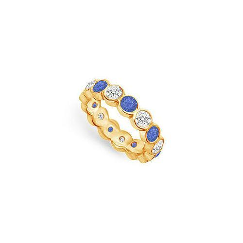 Diamond and Blue Sapphire Eternity Band : 18K Yellow Gold – 2.00 CT TGW-JewelryKorner-com