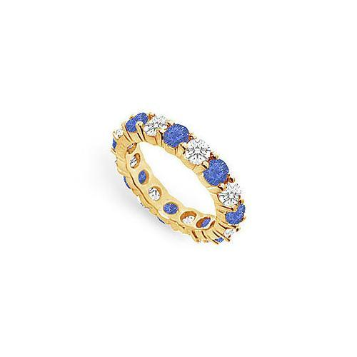 Diamond and Blue Sapphire Eternity Band : 18K Yellow Gold – 3.00 CT TGW-JewelryKorner-com
