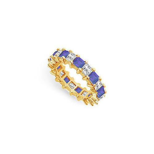 Diamond and Blue Sapphire Eternity Band : 18K Yellow Gold – 4.00 CT TGW-JewelryKorner-com