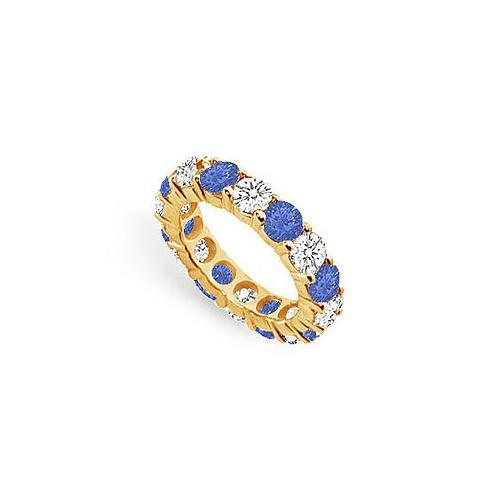 Diamond and Blue Sapphire Eternity Band : 18K Yellow Gold – 5.00 CT TGW-JewelryKorner-com