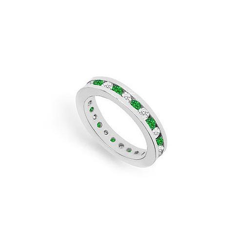 Diamond and Emerald Eternity Band : 14K White Gold – 1.00 CT TGW-JewelryKorner-com