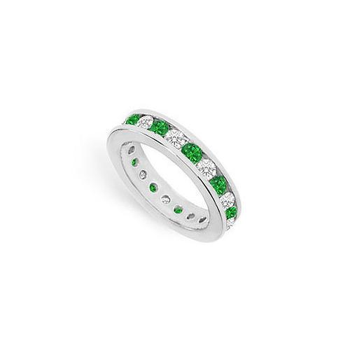 Diamond and Emerald Eternity Band : 14K White Gold – 2.00 CT TGW-JewelryKorner-com