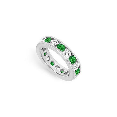 Diamond and Emerald Eternity Band : 14K White Gold – 3.00 CT TGW-JewelryKorner-com