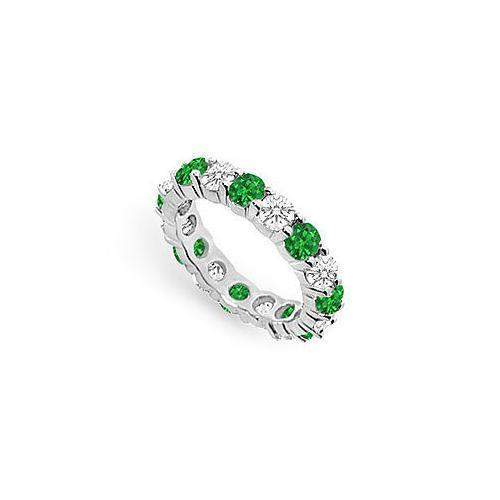Diamond and Emerald Eternity Band : 14K White Gold - 4.00 CT TGW-JewelryKorner-com