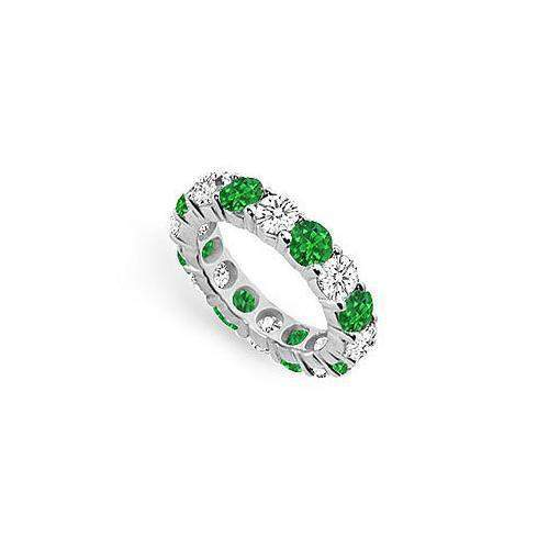 Diamond and Emerald Eternity Band : 14K White Gold - 5.00 CT TGW-JewelryKorner-com