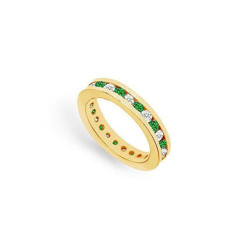 Diamond and Emerald Eternity Band : 14K Yellow Gold – 1.00 CT TGW-JewelryKorner-com