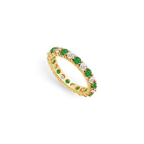 Diamond and Emerald Eternity Band : 14K Yellow Gold - 2.00 CT TGW-JewelryKorner-com