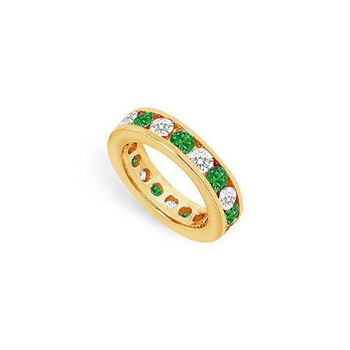 Diamond and Emerald Eternity Band : 14K Yellow Gold – 3.00 CT TGW-JewelryKorner-com