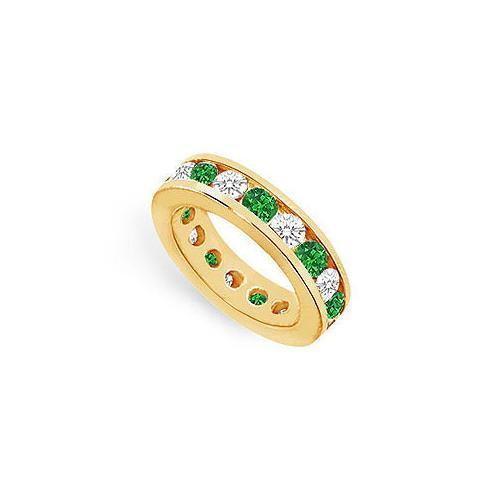 Diamond and Emerald Eternity Band : 14K Yellow Gold – 4.00 CT TGW-JewelryKorner-com